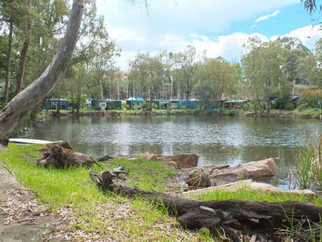 Picture of campsite across the quarry
